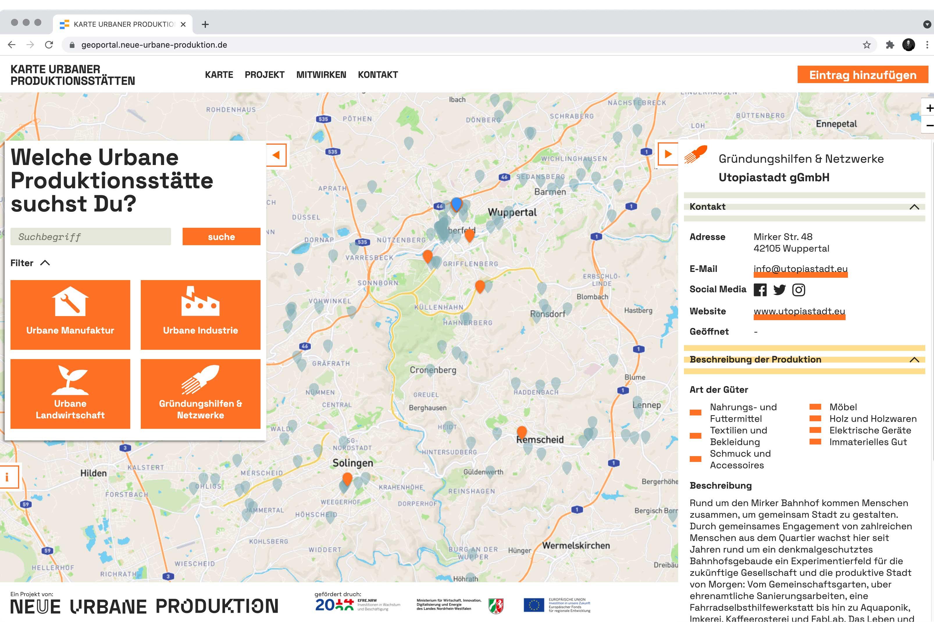"""Screenshot der interaktiven Karte """"Neue Urbane Produktion"""""""